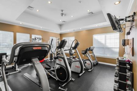 Fitness center at River Pointe at Den Rock Park Apartments in Lawrence, MA