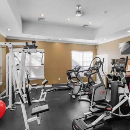 24-hour fitness center at River Pointe at Den Rock Park Apartments in Lawrence, MA