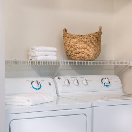 Full-size washer and dryer included at River Pointe at Den Rock Park Apartments in Lawrence, MA