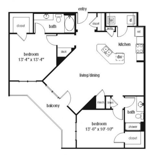 Two bedroom two bathroom B2 floorplan at The Alexander at Ghent Apartment Homes in Norfolk, VA