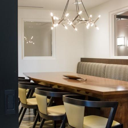 Group dining room at RIZE Irvine apartments in Irvine CA
