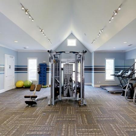 Fitness center at Park at Crossroads Apartments in Cary, NC
