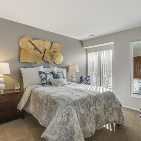 Spacious bedroom at Oaks at Hampton Apartments in Rochester Hills, MI