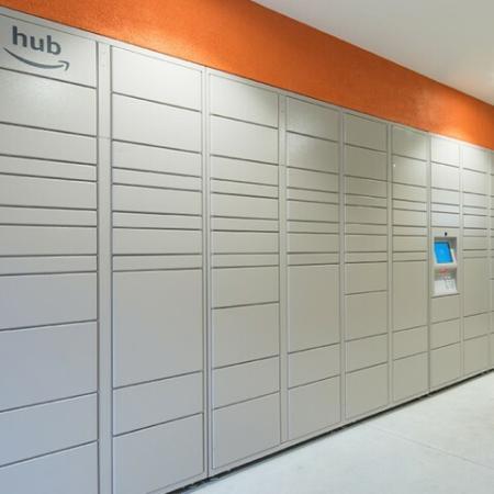 Package lockers at Valentia Apartments in La Habra, CA