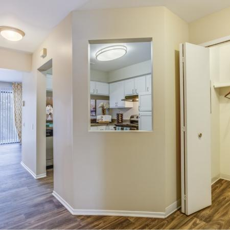 Foyer and front hall closet at Spring Valley Apartments in Farmington Hills, MI