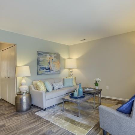 Living room at Spring Valley Apartments in Farmington Hills, MI