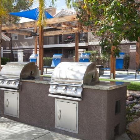 Barbecue grills at the Reflections at the Lakes apartments in Las Vegas NV