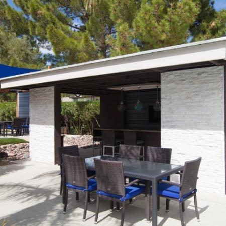 Outdoor kitchen at Reflections at the Lakes apartments in Las Vegas NV