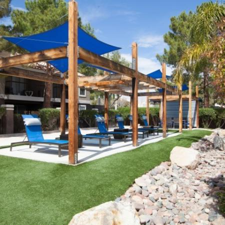 Outdoor Lounge at Reflections at the Lakes apartments in Las Vegas NV
