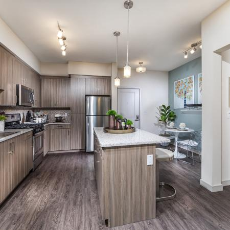 Kitchen and dining space at Areum Apartments in Monrovia CA