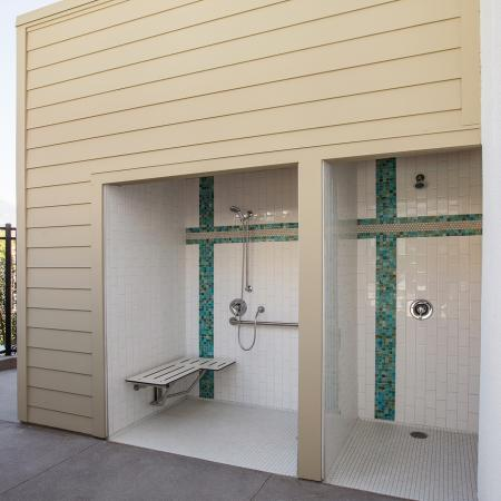 Outdoor showers at Areum Apartments in Monrovia CA