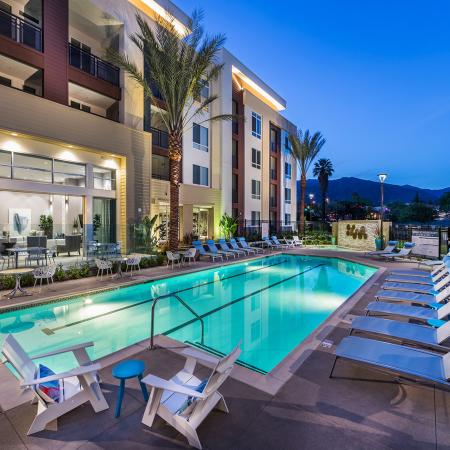 Pool at night at Areum Apartments in Monrovia CA