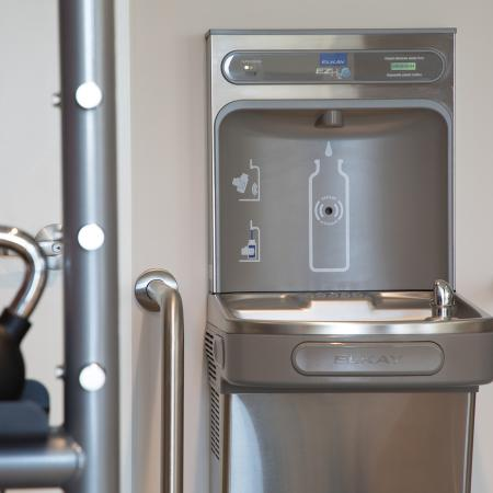 Fitness center drinking fountain at Areum Apartments in Monrovia CA