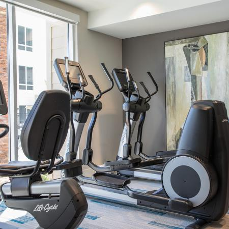 Fitness center cardio equipment at Areum Apartments in Monrovia CA