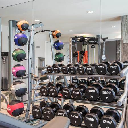 Fitness center free weights at Areum Apartments in Monrovia CA