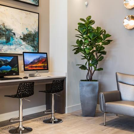 Cyber lounge at Areum Apartments in Monrovia CA