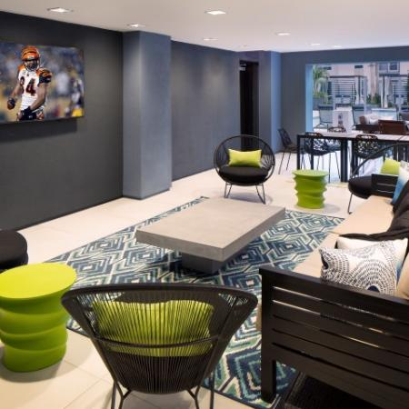 Interior pool lounge at RIZE apartments in Irvine, CA