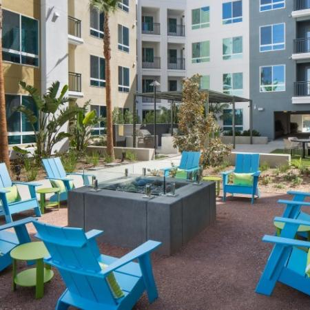 Fireplace lounge at RIZE apartments in Irvine, CA