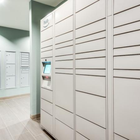 Amazon Hub lockers at Brisa at Shadowlake in Houston, TX