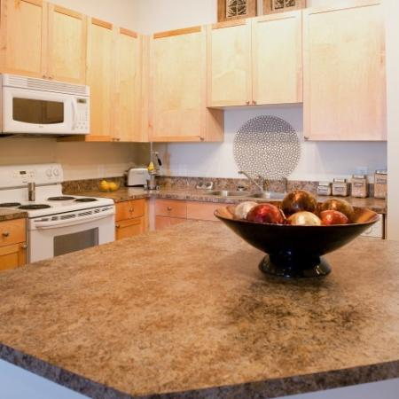 Kitchen island at The Alexander at Ghent Apartment Homes in Norfolk, VA