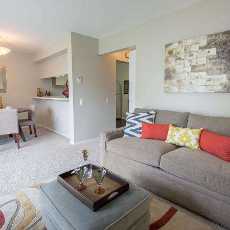 Living space at Spring Valley Apartments in Farmington Hills, MI