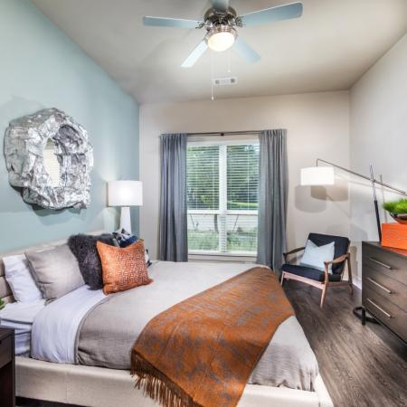 Guest bedroom at Inwood Station apartments in Dallas TX