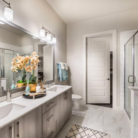 2 bedroom master bath at Inwood Station apartments in Dallas TX