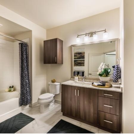 Bathroom at RIZE Irvine apartments in Irvine, CA