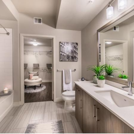 Master Bathroom at RIZE Irvine apartments in Irvine, CA