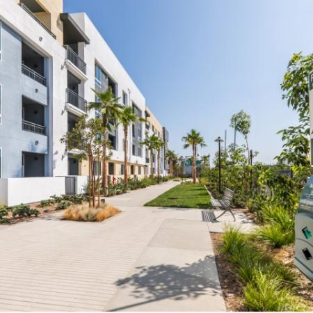 Backside Walkway at RIZE Irvine apartments in Irvine, CA
