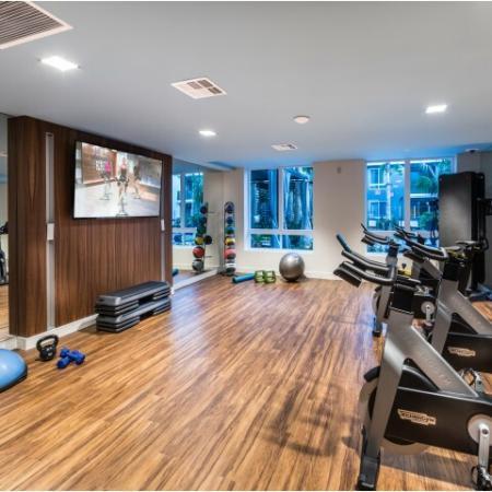 Yoga studio at RIZE Irvine apartments in Irvine, CA