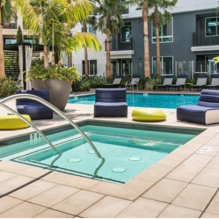 Hot tub at RIZE Irvine apartments in Irvine, CA