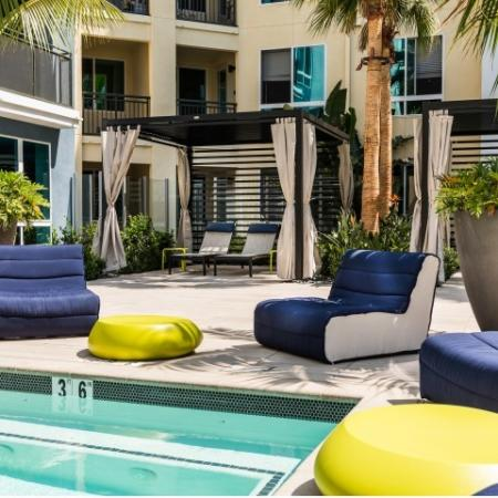 Poolside lounge at RIZE Irvine apartments in Irvine, CA