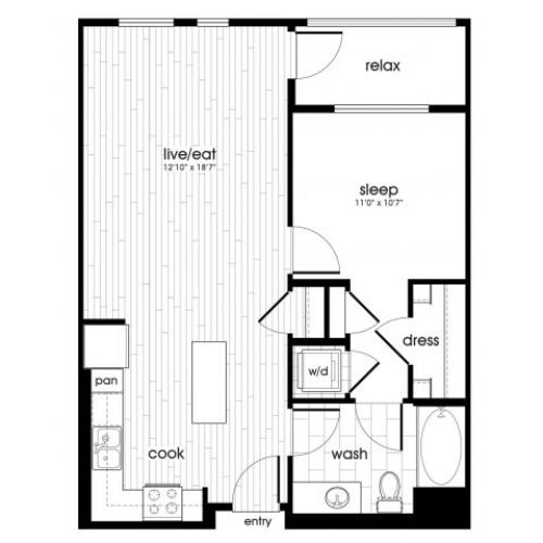 A2 Floorplan at Vela on Ox Apartments in Woodland Hills, CA