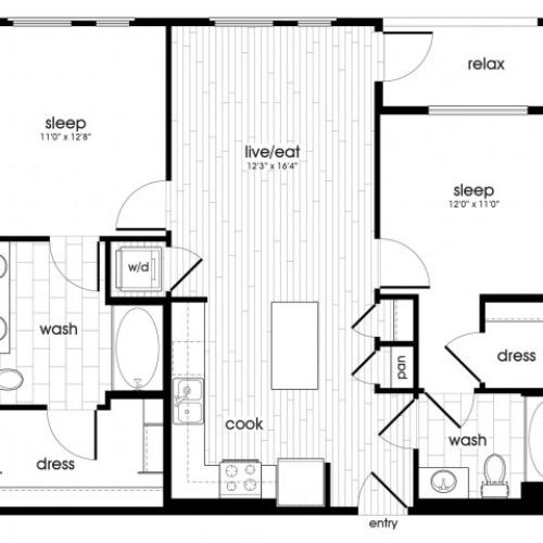 B2 Floorplan at Vela on Ox Apartments in Woodland Hills, CA