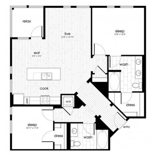 B3 Floorplan at Vela on Ox Apartments in Woodland Hills, CA
