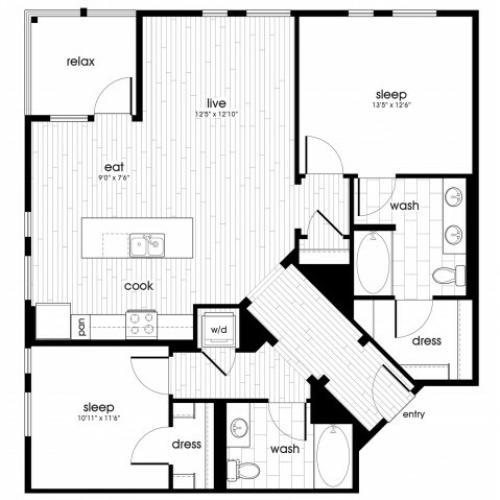 B4 Floorplan at Vela on Ox Apartments in Woodland Hills, CA