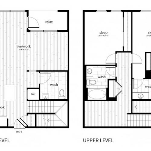 B5 Floorplan at Vela on Ox Apartments in Woodland Hills, CA
