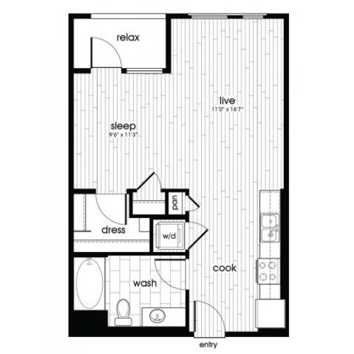S1 Floorplan at Vela on Ox Apartments in Woodland Hills, CA