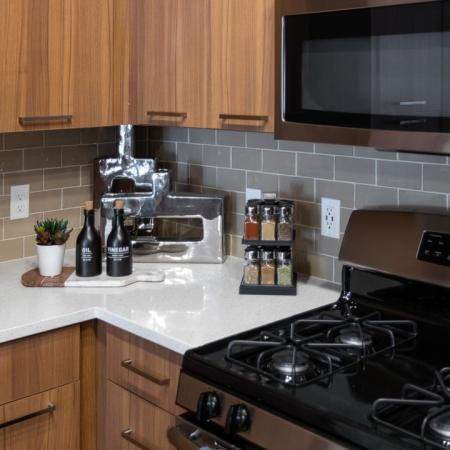Kitchen counters at Mave Apartments in Stoneham, MA