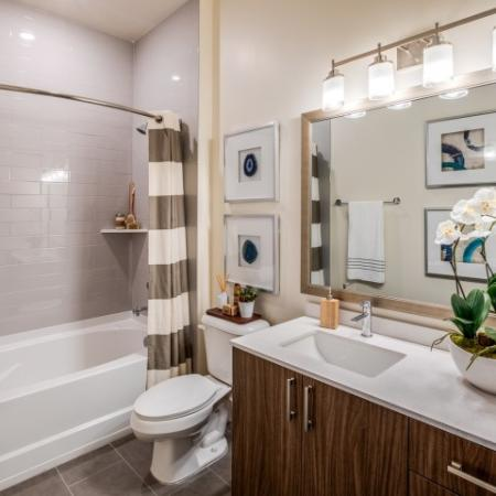 Model bathroom ORA Flagler Village Apartments in Fort Lauderdale Florida
