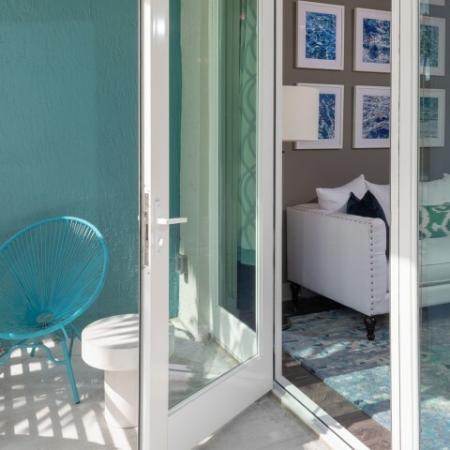 Model patio ORA Flagler Village Apartments in Fort Lauderdale Florida