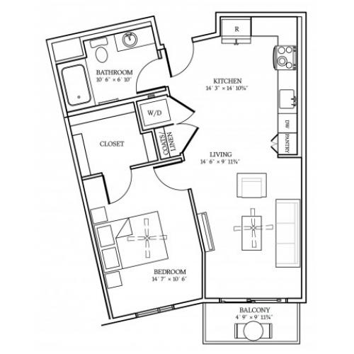 A2 Floorplan at Aliso Apartments in Los Angeles, CA