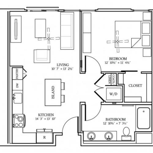 A3 Floorplan at Aliso Apartments in Los Angeles, CA