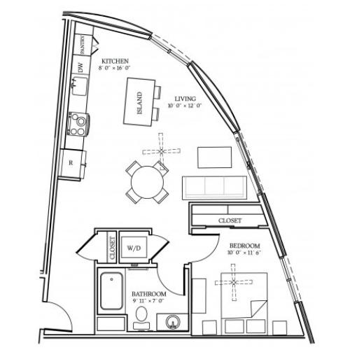 A4 Floorplan at Aliso Apartments in Los Angeles, CA