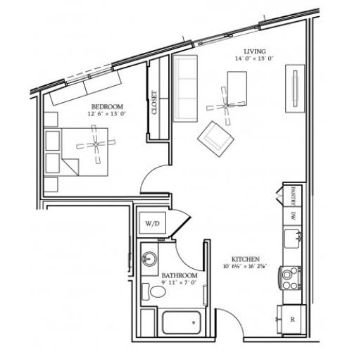 A5 Floorplan at Aliso Apartments in Los Angeles, CA