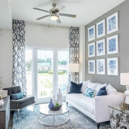 Living room at Ora Flagler Village apartments in Fort Lauderdale, FL