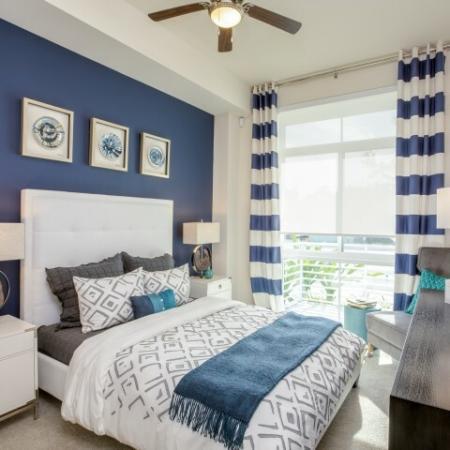 Master bedroom at Ora Flagler Village apartments in Fort Lauderdale, FL