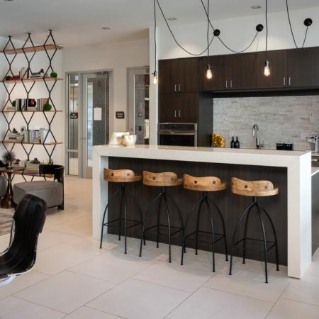 Demonstration kitchen at Mave Apartments in Stoneham, MA