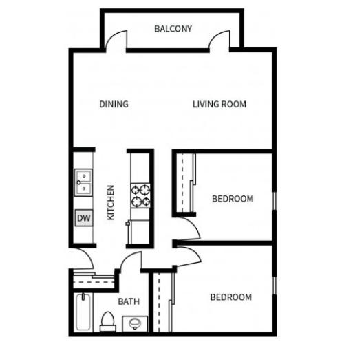 B1 Floorplan for Bayside Apartments in Pinole, CA